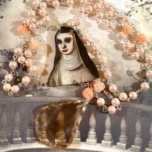 Vintage Nun peach crystal deconstructed rosary